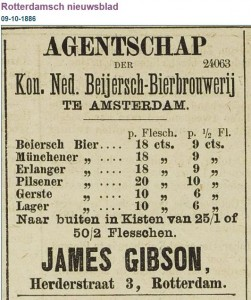 Rotterdamsch nieuwsblad 9-10-1886. The 'Lager' on this list refers to a cheap dark beer.
