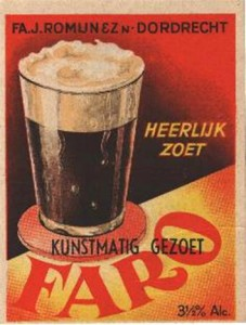 Label Faro (artificially sweetened), De Sleutel Dordrecht - Source: bieretiketten.nl