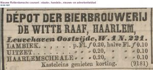 NRC 2-6-1867: advert for a Dutch brewery making lambiek, uitzet and ale.