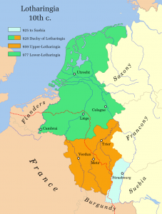 Lotharingia in the tenth century. In red the linguistic divide. Source: Wikipedia.