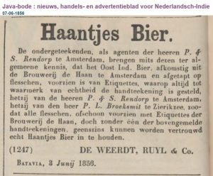 Haantjesbier: according to this advert, there were also counterfeit bottles of it in the Dutch East Indies.