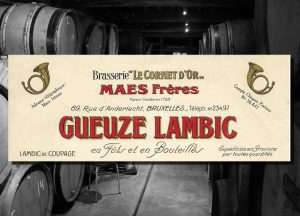 Advertisement for gueuze-lambic from Maes Frères, 'in barrels and bottles'. Source: Patrick Goderis, Bières et brasseries bruxelloises