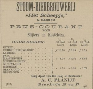 A 1883 price list for the Scheepje brewery in Haarlem (Holland), selling lambic, faro and some other Belgian-style beers. Source: Haagsche courant 2-6-1883.