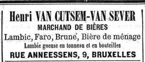 In 1893, this beer trader sold gueuze in barrels and in bottles. Source: Le Peuple 22-1-1893.