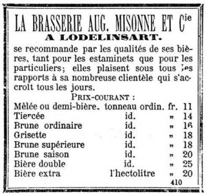 An add showing a 'brown saison'. Gazette de Charleroi 4-1-1883.