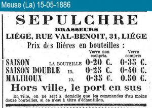 Saison and double saison on sale in Liège, 1886. 19th century evidence for saison in Liège is overwhelming, while in Hainaut it seemed almost non-existent by comparison.