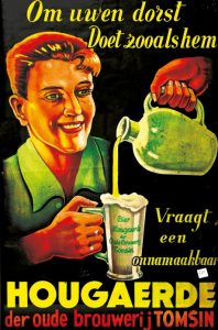 Advertisement for Tomsin, almost Hoegaarden's last white beer brewery. Source: KADOC Nieuwsbrief