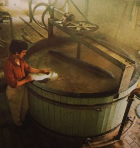 Pierre Celis at his mash tun in the 1970s. Source: Wilfried Patroons, Bier.