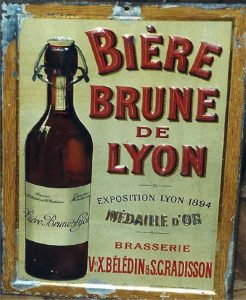 One of the last publicity signs for Lyon's brown beer. From: Romain Thinon, Un îlot brassicole.
