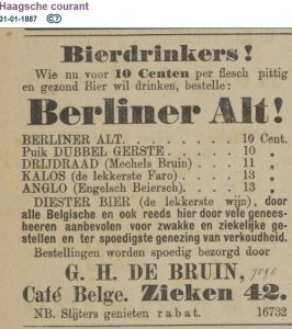 Café Belge in The Hague recommends 'hearty and healthy' Berliner Alt, 1887.