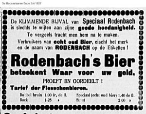 Rodenbach's product range in the 1920s: Double brown and Speciaal old beer, but also bock and stout. De Rousselaarse Bode 4-2-1927
