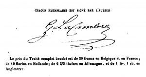 Lacambre's signature, from a copy of his book. It cost 20 francs in Belgium and one pound and a shilling in England.