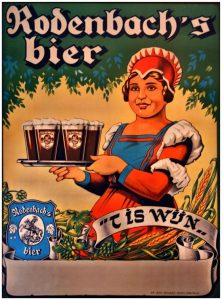 'It's wine!' 'Big Bertha' promoting Rodenbach's beer. Source: Erfgoedbank Midden-West.