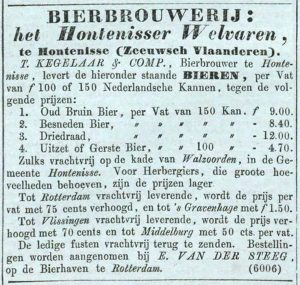 Driedraad on sale at the Hontenisser Welvaren brewery in Zeeuws-Flanders, NRC 2-7-1850.
