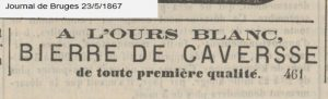 Caves on sale in Bruges, 1867, one of the last advertisements for it until it disappeared.